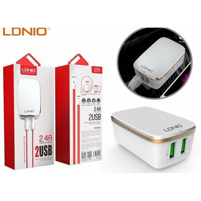LDNIO 2.4A RAPID CHARGE 2 USB TRAVEL CHARGER