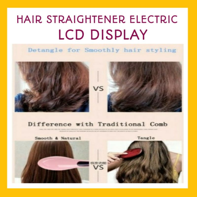 Hair Straightener Electric Comb With LCD Display